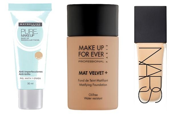 Base Pure Make-Up, Maybelline (R$ 23), Mat Velvet +, Make Up For Ever (R$ 185), All Day Luminous Weightless Foundation, NARS (R$ 275) (Foto: Divulgação)