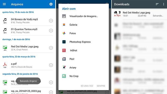 Outlook para Android pergunta com qual app deseja visualizar anexo (Foto: Reprodução/Elson de Souza)