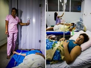 Devido ao superlotamento, pacientes estão sendo atendidos no chão (Foto: Jonathan Lins/G1)