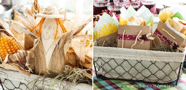 Espigas de milho são tradição! Já o cachorro-quente pode ser servido dentro de sacolinhas decoradas (Foto: Arquivo pessoal)