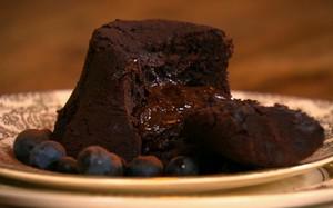 'A Cozinha Caseira de Annabel' - potinhos de chocolate com blueberries