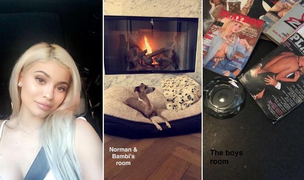 Kylie Jenner e alguns detalhes de sua casa (Foto: Snapchat)