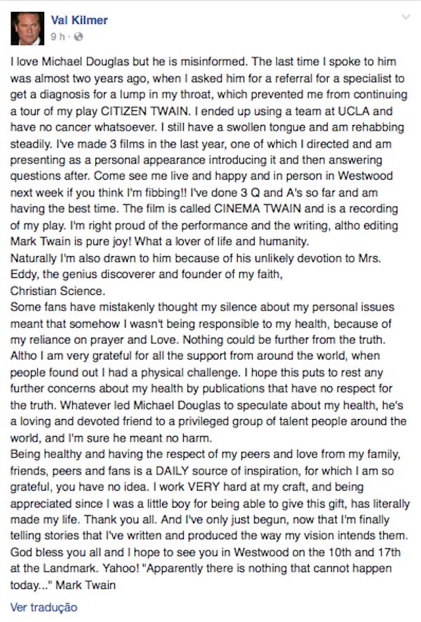 O texto publicado por Val Kilmer nas redes sociais (Foto: Facebook)