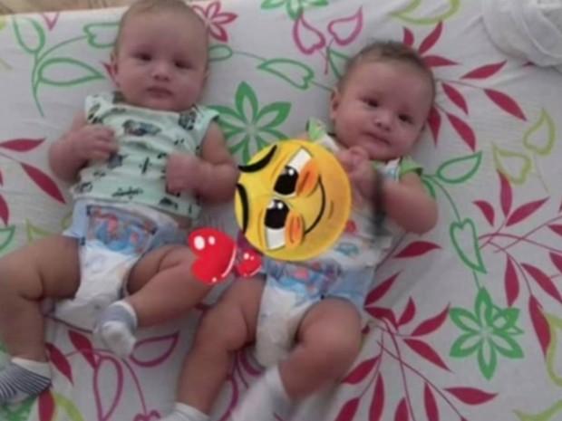 Polícia investiga a morte de gêmeos de 11 meses, em São Miguel do Araguaia, em Goiás (Foto: Reprodução/TV Anhanguera)