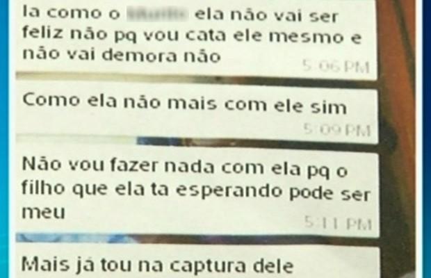 Mensagens de texto revelam ameaça de suspeito à ex-namorada e atual companheiro, em Luziânia, Goiás (Foto: Reprodução/TV Anhanguera)