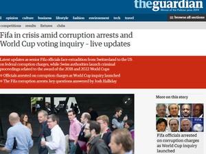 """O jornal britânico """"The Guardian"""" criou uma página com atualizações ao vivo sobre o caso de corrupção na Fifa (Foto: Reprodução/The Guardian)"""