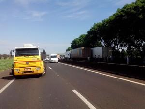 Caminhoneiros bloquearam uma das faixas dos dois lados da rodovia  (Foto: Guilherme Tavares/ TV TEM)