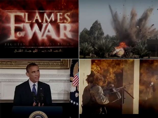 Vídeo de 52 segundos mostra militantes do Estado Islâmico explodindo tanques, soldados americanos feridos e imagem de Barack Obama (Foto: Reprodução/YouTube/)