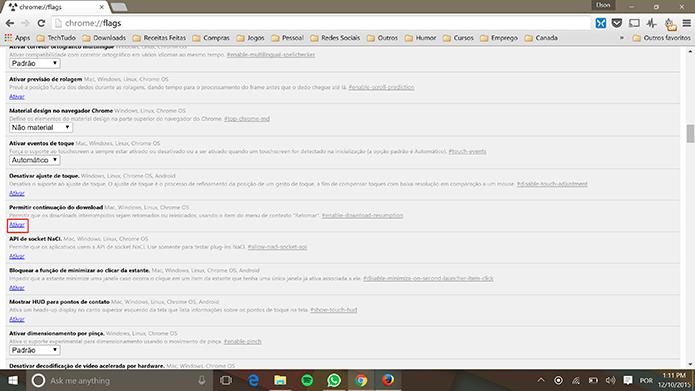 Chrome para Windows tem página com recursos experimentais como pausa de downloads (Foto: Reprodução/Elson de Souza)