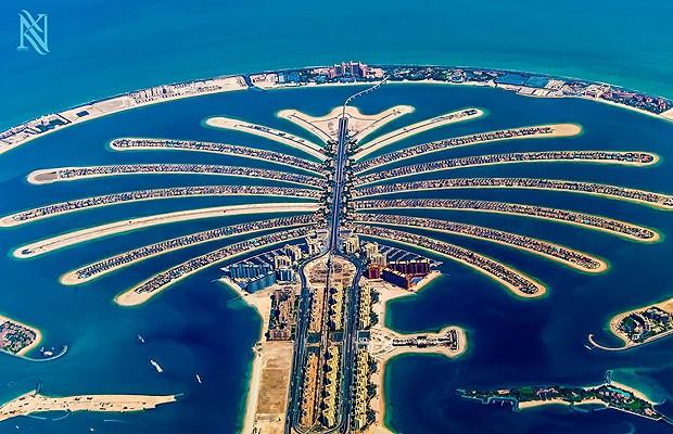 Vista das ilhas artificiais de Dubai (Foto: Reprodução/Karim Nafatni)
