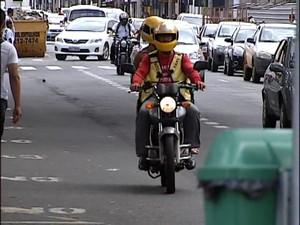 Mototaxistas Uberlândia  (Foto: Reprodução/ TV Integração)