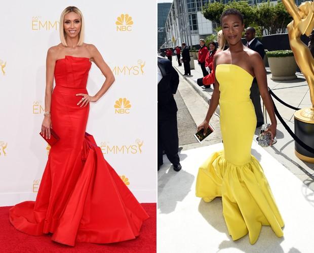 Vestidos sereia em cores bem vibrantes deixam os looks de semelhantes. (Foto: Getty Images)