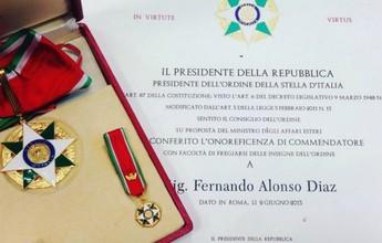 De Don a Comendador: Alonso recebe título de honra do governo italiano
