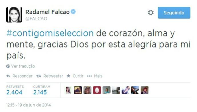 Falcao comemora vitória da Colômbia sobre Costa do Marfim (Foto: Reprodução / Twitter)