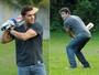 Klebber Toledo e Rafael Cardoso aprendem a jogar críquete (Foto: João Cotta / TV Globo)