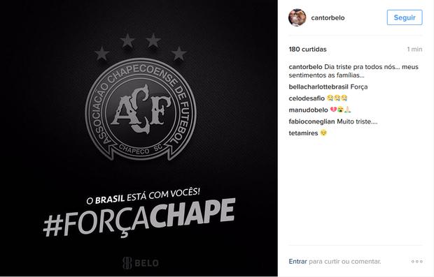 Belo se manisfesta na rede social (Foto: Reprodução/Instagram)