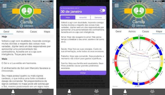 Horos también muestra su horóscopo diario personalizado (Foto: Reproducción / Camila Peres)