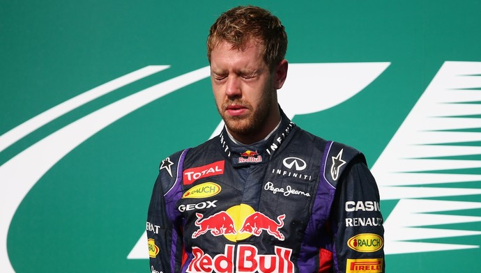 Sebastian Vettel se emocionou no pódio do GP dos EUA (Foto: Getty Images)