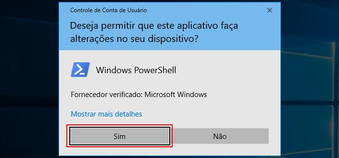 Autorizando a execução do PowerShell no Windows 10 (Foto: Reprodução/Edivaldo Brito)