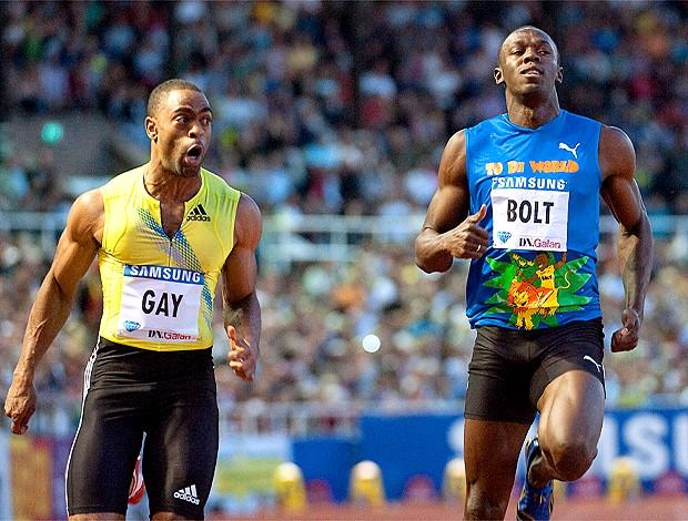 Tyson Gay e Usain Bolt (Foto: AFP)
