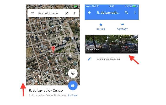 Acessando o serviço Street View em uma rua através do aplicativo do Google Maps no celular (Foto: Reprodução/Marvin Costa)