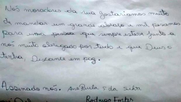 Carta comerciante morto bala perdida Porto Alegre RS (Foto: Reprodução)