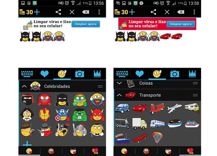 App tem emojis em personagens de herois e mais (Foto: Reprodução/Barbara Mannara)