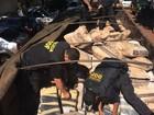 DOF acha maconha sob sacos de fécula de mandioca em caminhão