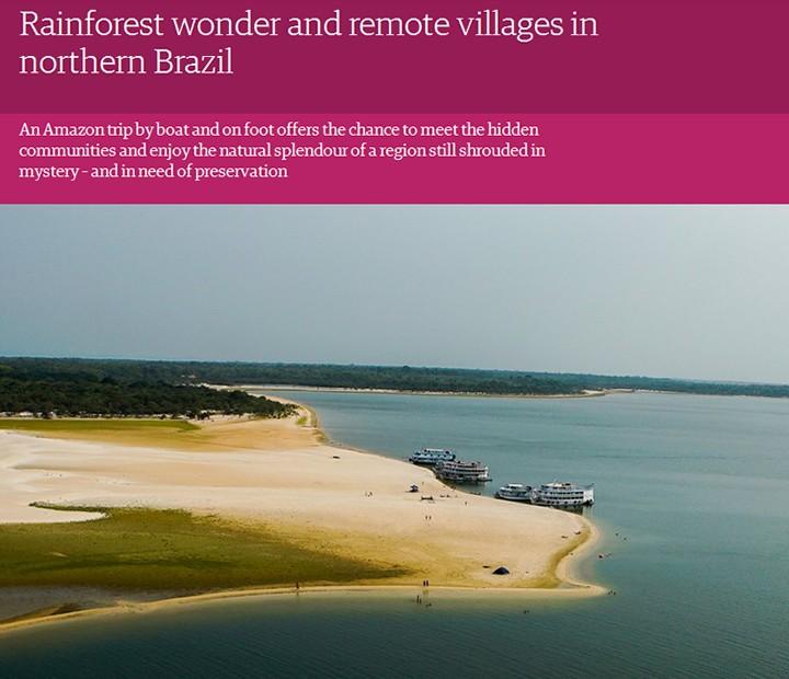 Rio Tapajós é descito como selvagem e largo como o mar (Foto: The Guardian/Reprodução)