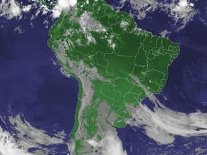 Imagem de satélite capturada na manhã desta terça-feira (27). (Foto: Reprodução/Cptec/Inpe)