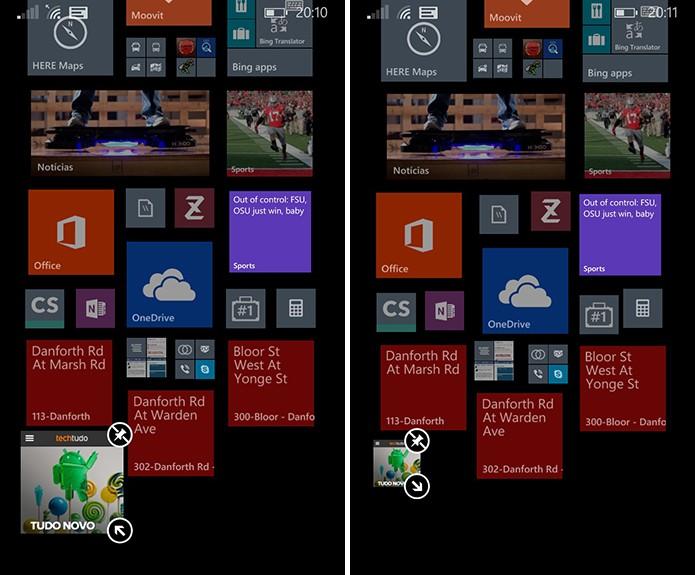 Site fixado através do Internet Explorer do Windows Phone pode ser redimensionado na tela inicial (Foto: Reprodução/Elson de Souza)