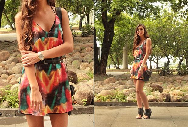 SEXY: A estudante Marcela Maesterlli apostou no sensual vestido da FI. (Foto: Henrique Padilha)