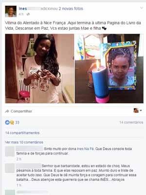 Mãe de vítima de atentado, Inês se despediu em post no Facebook (Foto: Reprodução/Facebook)