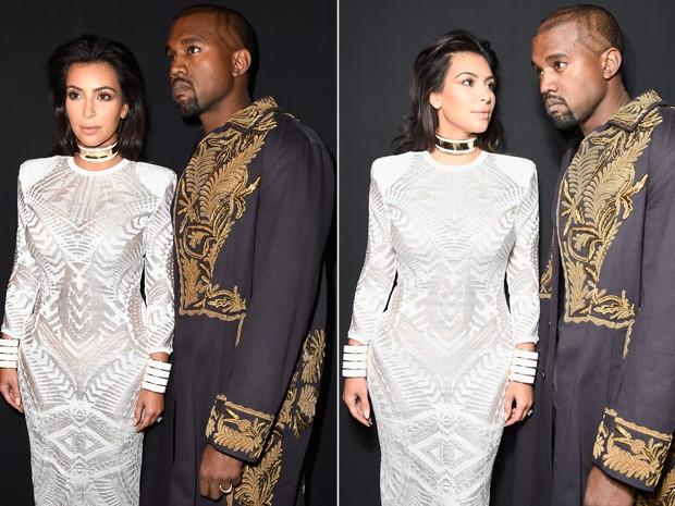 Kim kardashian e Kanye West se preparam para entrar na primeira fila do desfile da Balmain (Foto: Getty Images)