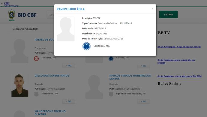 Ábila é regularizado no BID da CBF (Foto: Reprodução / CBF)