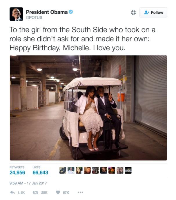 Barack Obama felicita Michelle pelo aniversário (Foto: Reprodução/Twitter)