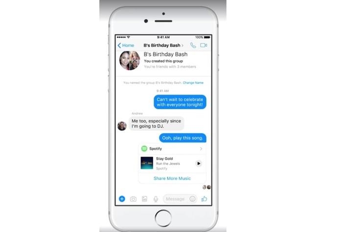 Agora é possível compartilhar músicas no Messenger (Foto: Divulgação/Facebook)
