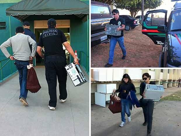 Documentos e computadores apreendidos por policiais durante operação de combate ao jogo ilegal no Distrito Federal na manhã desta sexta (24) (Foto: Felipe Néri/G1)