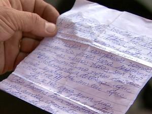 Pai escreveu a carta em homenagem ao filho, morto após ser atropelado, há um ano, em Franca (Foto: Reprodução/EPTV)