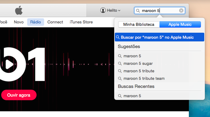 Pesquisando por artista ou banda no iTunes (Foto: Reprodução/Helito Bijora)