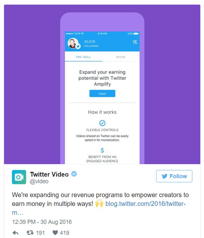 Twitter começa a liberar anúncios pre-roll em vídeos para usuários norte-americanos com remuneração mais agressiva do que a praticada no YouTube (Foto: Reprodução/Twitter)
