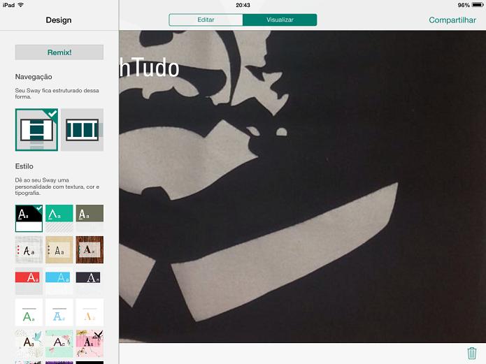 Depois de inserir conteúdo, você pode visualizar opções de design (Foto: Reprodução/Aline Jesus)