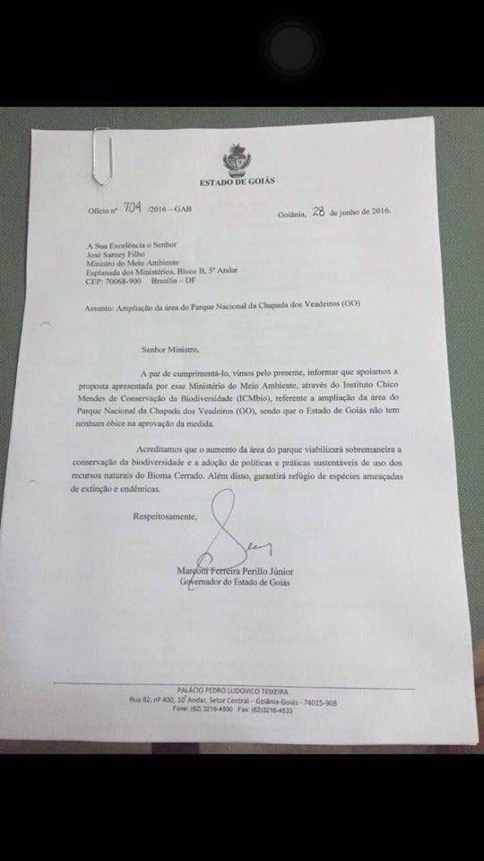 Ofício do governador de Goiás, Marconi Perillo, com parecer favorável à ampliação do Parque Nacional da Chapada dos Veadeiros (Foto: Reprodução)