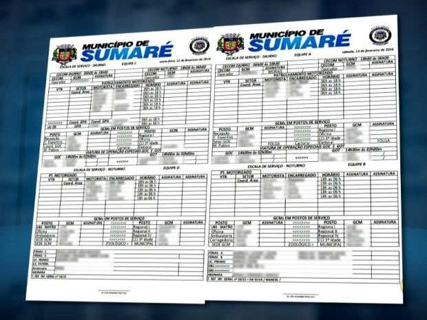 Escala mostra distribuição de equipes da Guarda, em Sumaré, SP (Foto: Reprodução / EPTV)