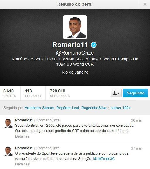 romário repercussão denúncia sport cbf (Foto: Reprodução)