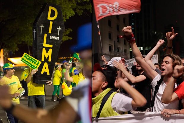 Protesto pró-impeachment em Brasília (à esquerda) e ato em defesa do governo em São Paulo (à direita): longo processo pode alienar ainda mais brasileiros da polítca, destaca publicação (Foto: Leo Correa/AP e Andre Penner/AP)