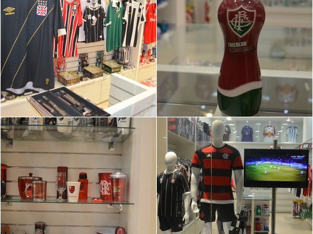 Copos, chaveiros, porta-retratos e outros acessórios e camisas oficiais de times são opções de presentes para o pai louco por futebol (Foto: Jackson Félix/ G1 RR)