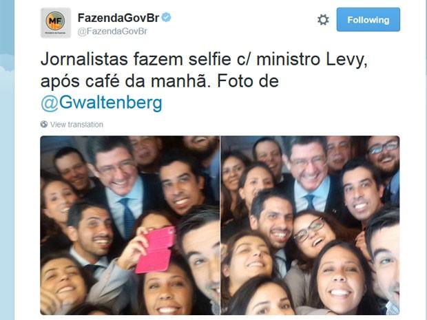 Joaquim Levy participou de café da manhã com jornalistas nesta sexta-feirea (18) (Foto: Reprodução/Twitter/Ministério da Fazenda)