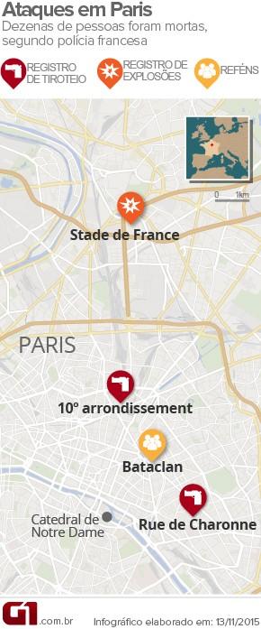 3 VALE ESTE - Ataques terroristas em Paris deixam mortos; houve explosões e há reféns (Foto: Arte/G1)