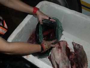 Carne de caça encontrada em operação na TO-010, em Palmas (Foto: Divulgação/FMA)